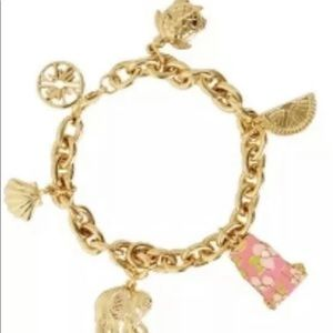 NeW Lilly Pulitzer charm dangle bracelet gold pink